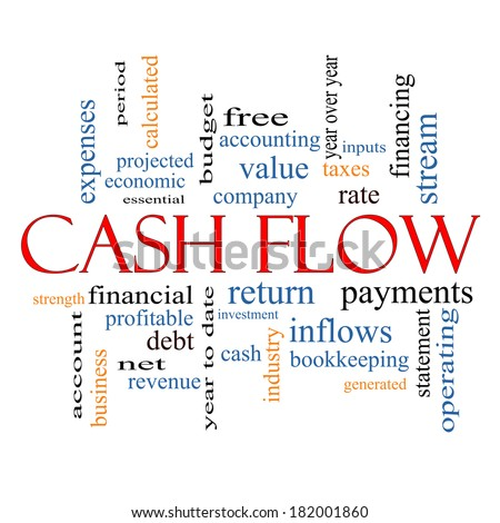 Cash Flow Word Cloud Concept with great terms such as return, investment, payments and more. - stock photo