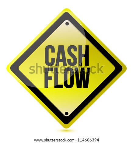 cash flow yellow sign illustration design over white - stock photo