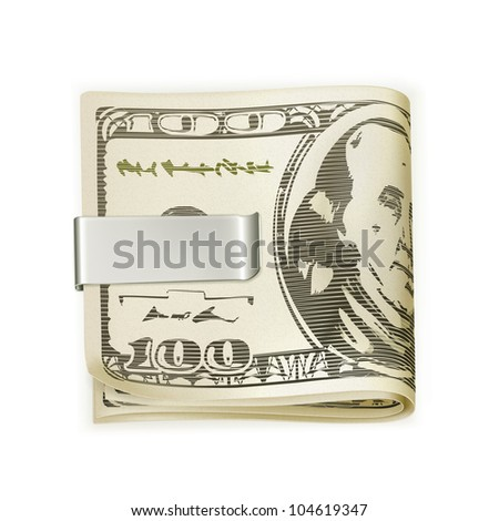 Cash folded in a money clip, bitmap copy