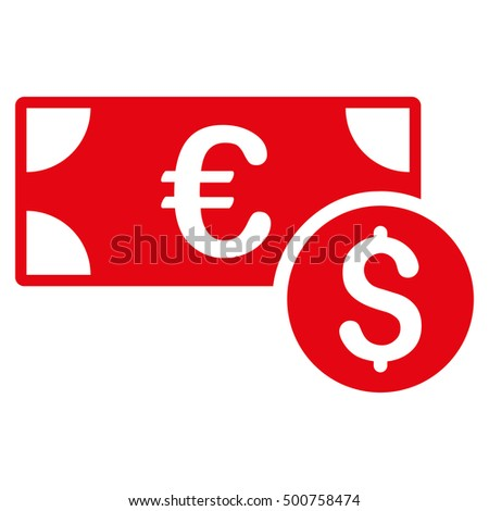 Cash icon. Glyph style is flat iconic symbol, red color, white background.