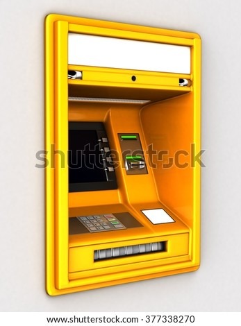 Cash Machine built-in wall. 3d illustration - stock photo