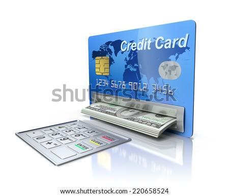 Cash machine in the credit card - stock photo