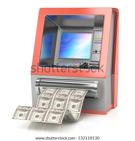 cash machine with dollars isolated on white. 3d rendered image