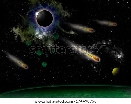 Cash of the comet in the universe. - stock photo