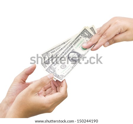 cash on woman hand give to man's hand - stock photo