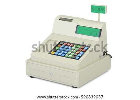 cash register, 3D rendering isolated on white background