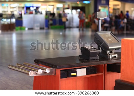cash register in the supermarket - stock photo