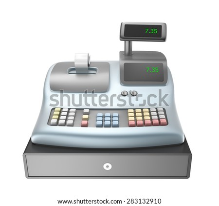 Cash register isolated on white - stock photo