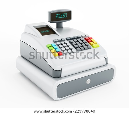 Cash register isolated on white background. - stock photo