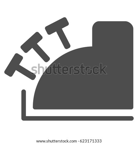 Cash Register raster pictograph. Illustration style is a flat iconic gray symbol on a white background.
