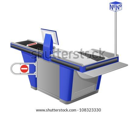 cash register terminal illustration isolated on white background - stock photo