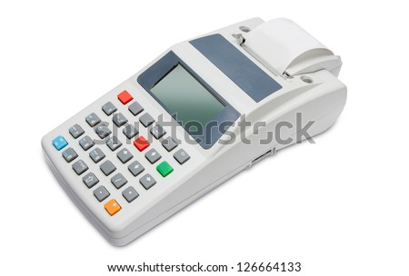 Cash register with LCD display isolated