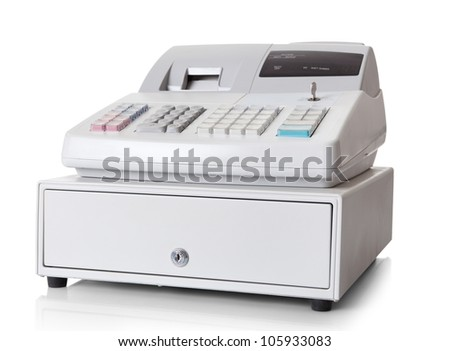 Cash register with LCD display. Isolated on white background