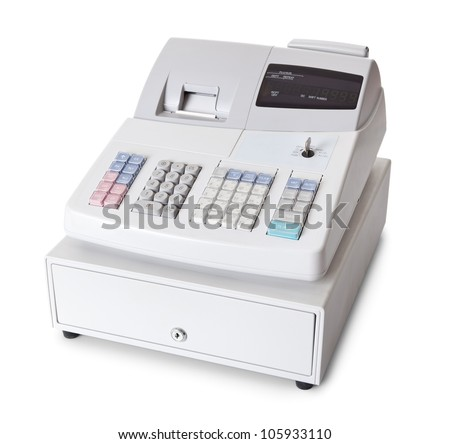 Cash register with LCD display. Isolated on white background - stock photo
