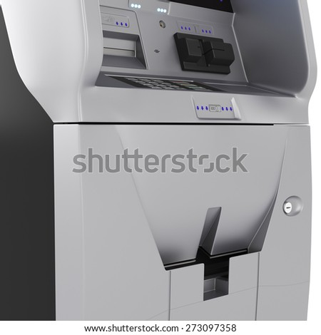 Cash terminal. The dial keypad modern ATM on a white background - stock photo