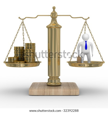 Cashes and businessman on weights. Isolated 3D image - stock photo