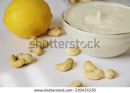 cashew and lemon mayo - stock photo