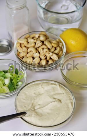cashew mayo ingredients vertical - stock photo