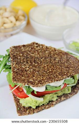 cashew mayo on sandwich - stock photo