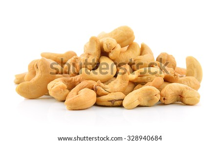 cashew nuts heap on white background - stock photo