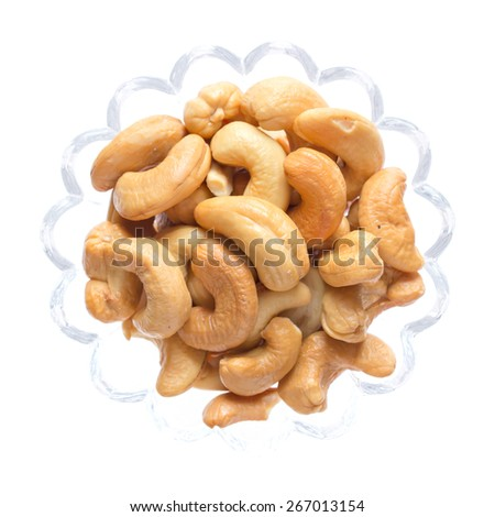 Cashew nuts isolated on white background, Top view food - stock photo