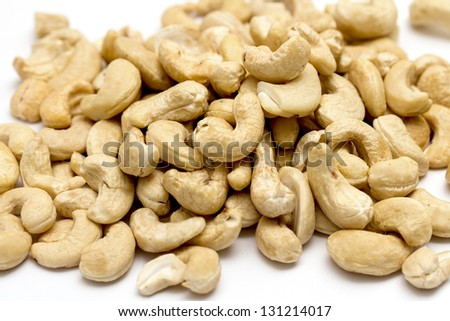 cashew nuts on a white background