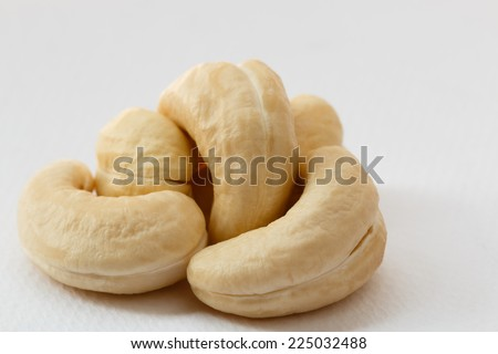 Cashew nuts placed on a white background. - stock photo
