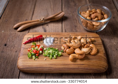 Cashew nuts with chilli , scallion and salt - stock photo