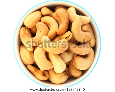 cashew on white background - stock photo