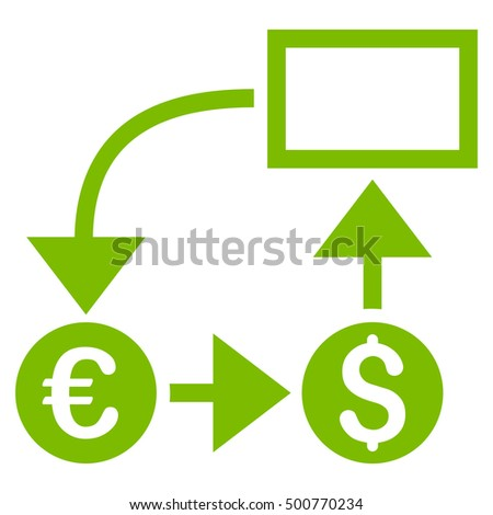 Cashflow icon. Glyph style is flat iconic symbol, eco green color, white background.