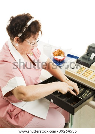 Cashier in cafeteria makes change with fast food lunch on the counter. - stock photo