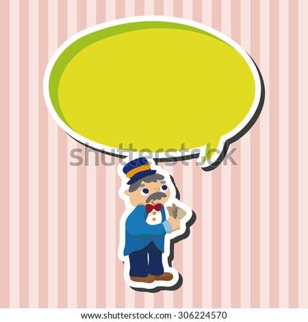 casino boss owner, cartoon speech icon - stock photo