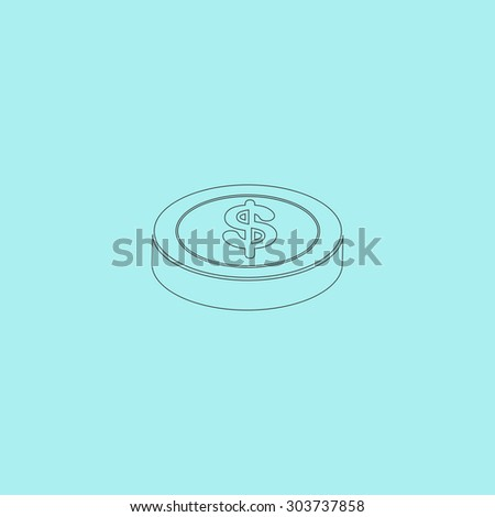 Casino chip. Outline simple flat icon isolated on blue background - stock photo
