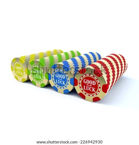 Casino chip stacks over white background - stock photo
