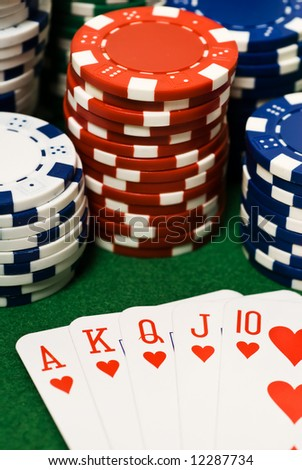 Casino chips and ace king suiets - stock photo