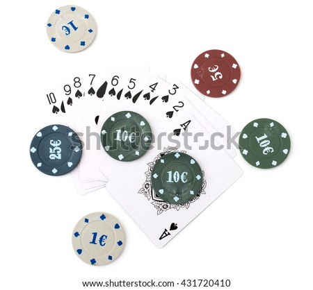 Casino chips and cards on a white background