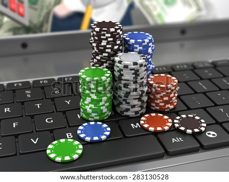casino chips icon on the keyboard. Online games concept  - stock photo