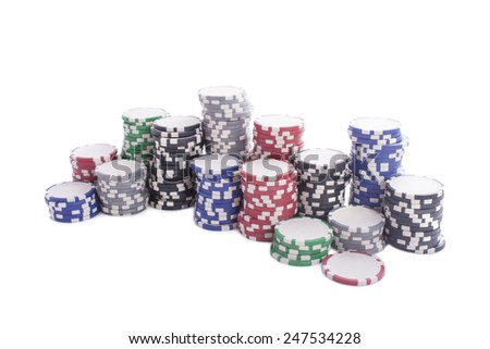 casino chips isolated on a white background