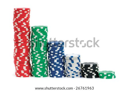 Casino chips isolated on the white background - stock photo