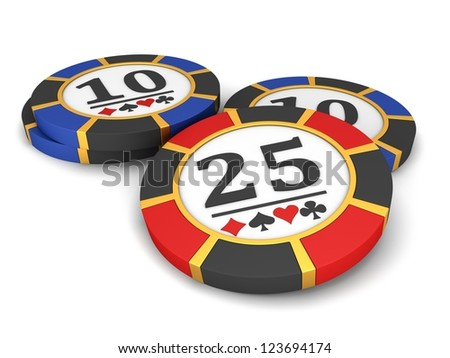 Casino chips on a white background. - stock photo