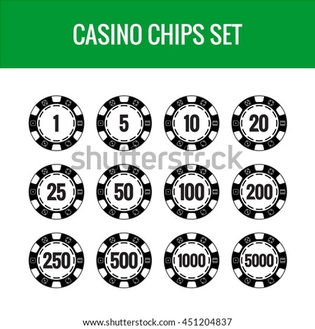 Casino chips set. Black poker chips with numbers.