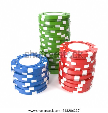 Casino chips stack isolated on white background. 3d illustration