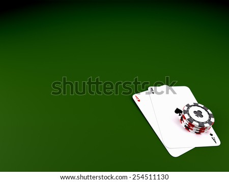 Casino chips with cards - stock photo