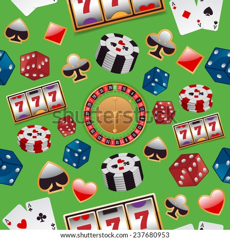 Casino color design elements with gambling poker roulette seamless pattern  illustration