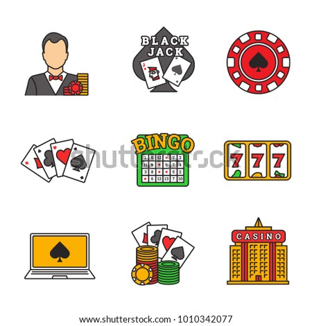 Casino color icons set. Croupier, blackjack, casino chip, four aces, lucky seven, bingo, online poker, casino building. Isolated raster illustrations