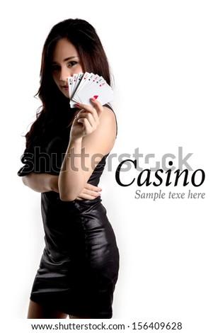 Casino concept- Pretty woman show a card. - stock photo
