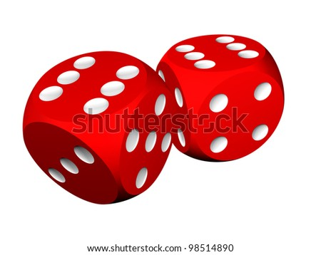 Casino craps or dices, isolated over white - stock photo