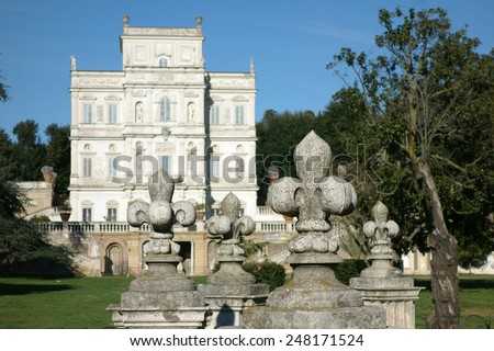 Casino del Bel Respiro, public park in Rome. Detail of a  Lily statue, heraldry  symbol of the Pamphili House - stock photo