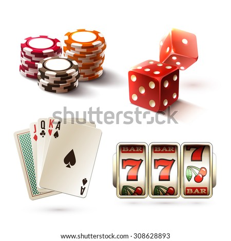 Casino design elements with gambling poker play realistic icons set isolated  illustration