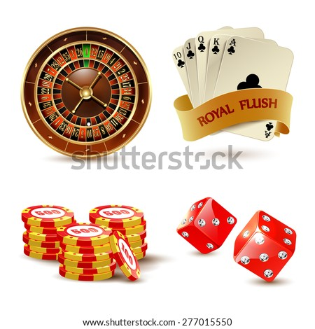 Casino elements set with cards, dice, chips and roulette.